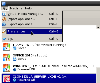 VirtualBox gui preferences