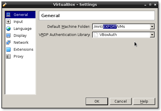 Virtualbox default machien folder - where to export vms