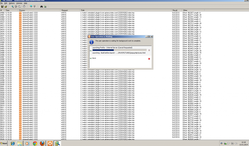 Aptana Eclipse workspace indexing takes ages
