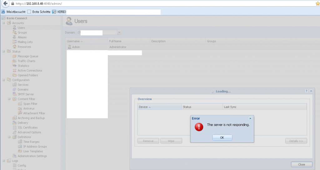 kerio can not remove mobile (android) device - all contacts gone on device - can only reset - massive (contact) dataloss