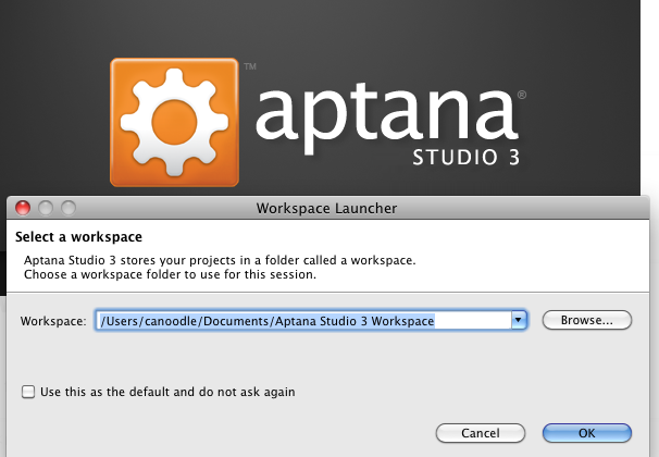 Aptana workspace fail – reset workspace | dwaves org