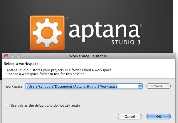aptana workspace fail