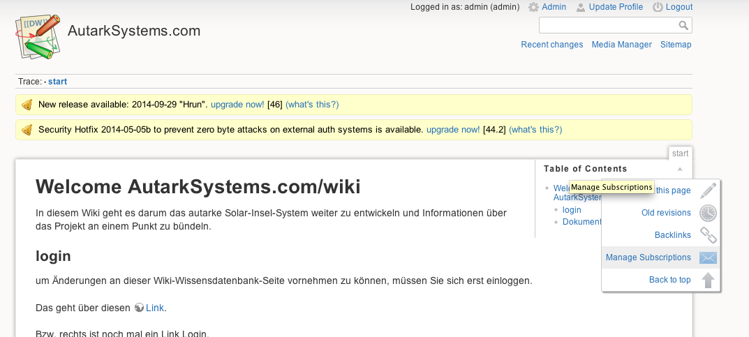 dokuwiki mail enable subscription