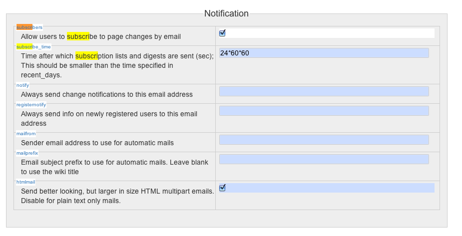 dokuwiki mail enable subscription0
