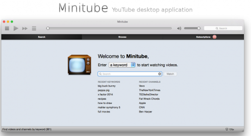 minitube linux screenshot