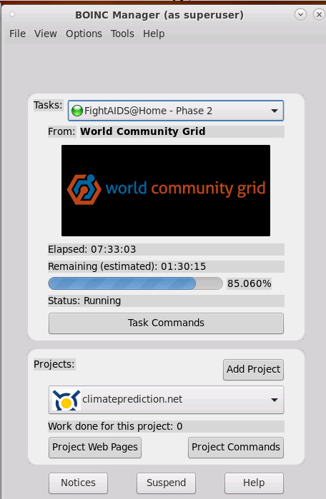 world community grid – donate computing power – map cancer markers and FightAIDS project