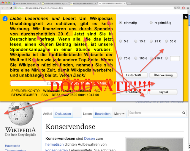 wikipedia nagging advertisement for donations