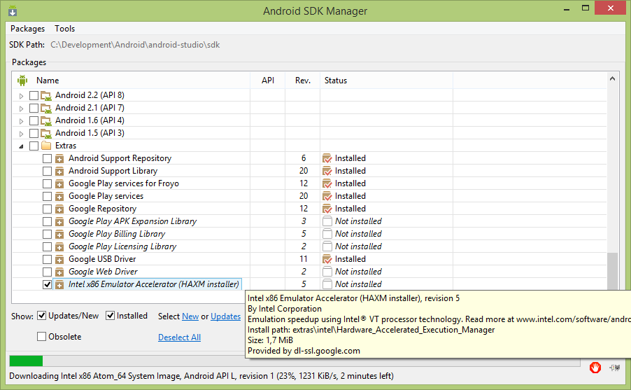 Windows -> VirtualBox XP VM -> installing Android Studio