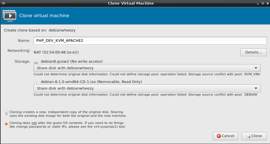 cloning a machine - can not reuse existing harddisk - questionmark