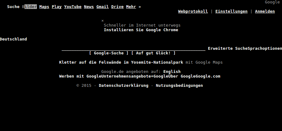 google.de in elinks