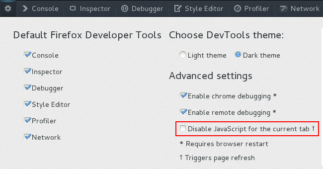 disable javascript in firefox developer tools