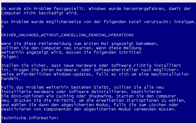windows xp sp3 driver unloaded without cancelling pending intelppm.sys bluescreen