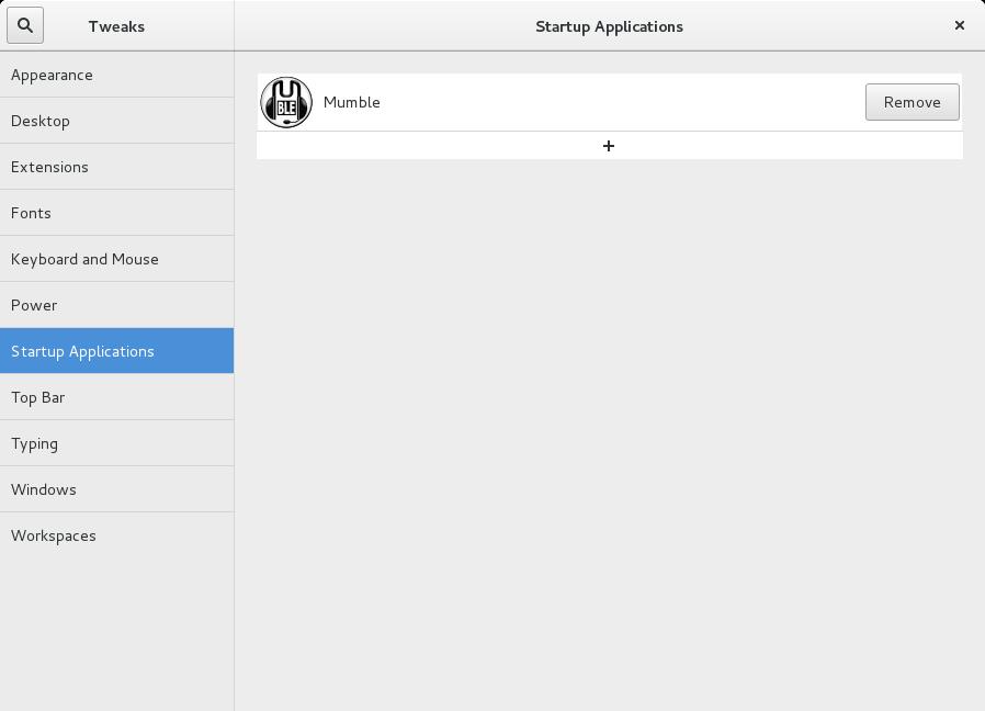 gnome-tweak-tool screenshot - autostart