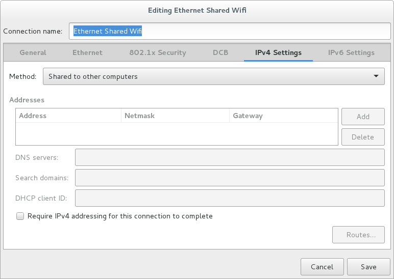 Linux Gnome3 Debian how to share Wireless connection via LAN