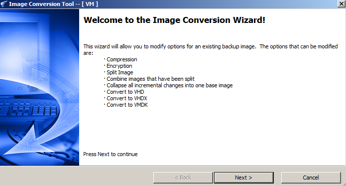 Shadow Protect Backup Software Image conversion Wizard VHD