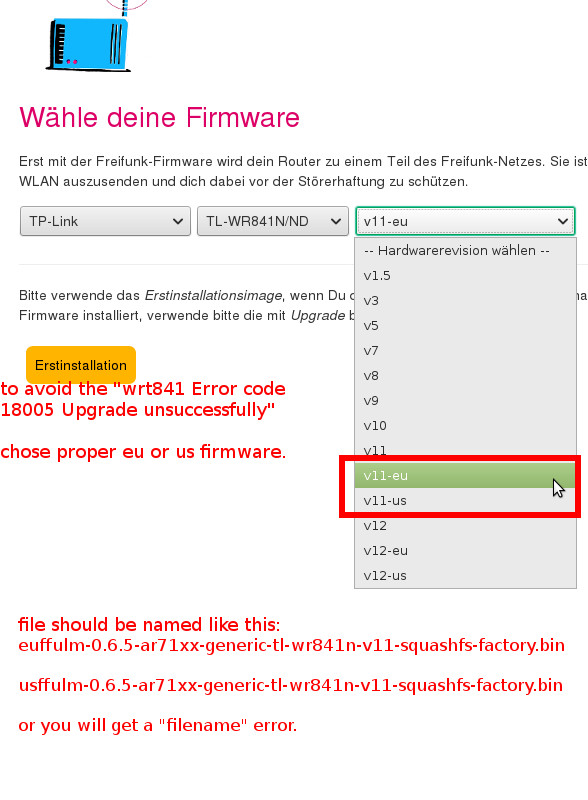 To Freifunk Firmware and Back on TP-Link TL-WR841N v11