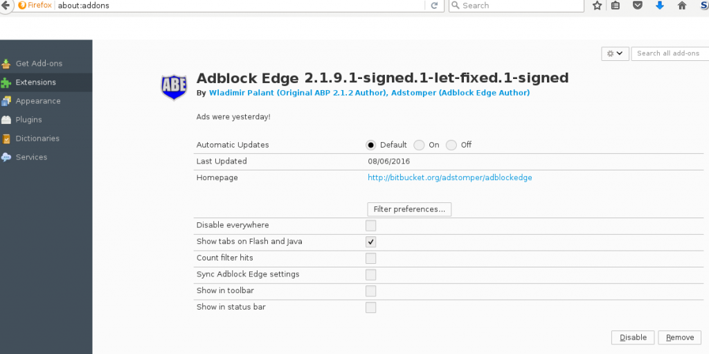 Why was Adblock Edge Firefox Addon removed from Mozilla