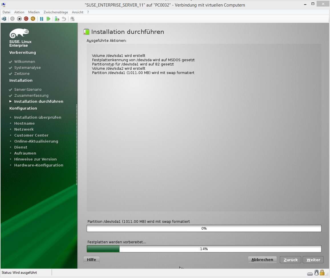 SUSE Enterprise Server 11 Virtual Guest setup fails error on