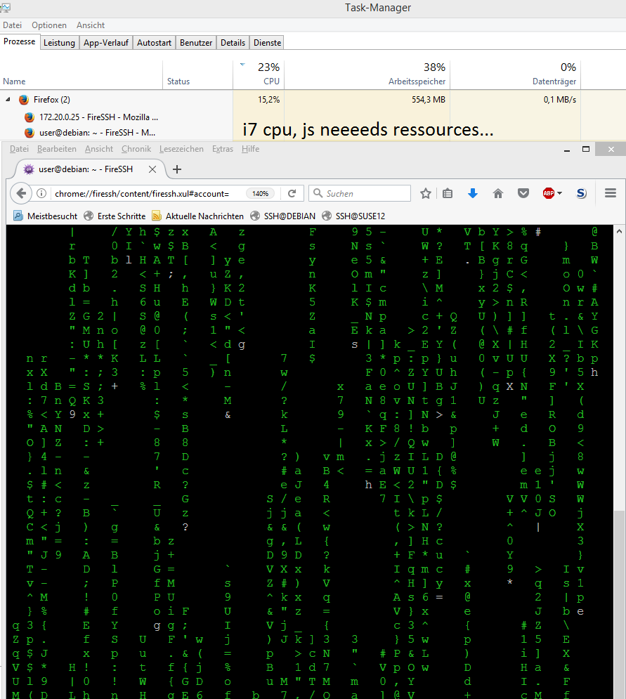 this is what it looks like - if you connect to debian8 with FireSS and run cmatrix :-D