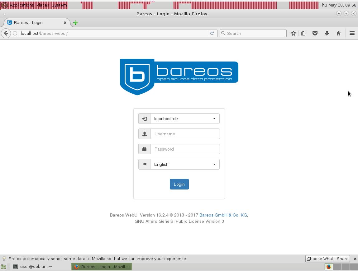 bareos-webui login