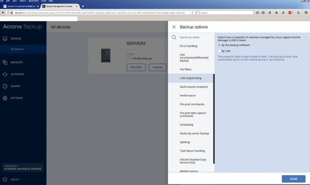 Acronis 12 Server Standard seems to support Linux LVM