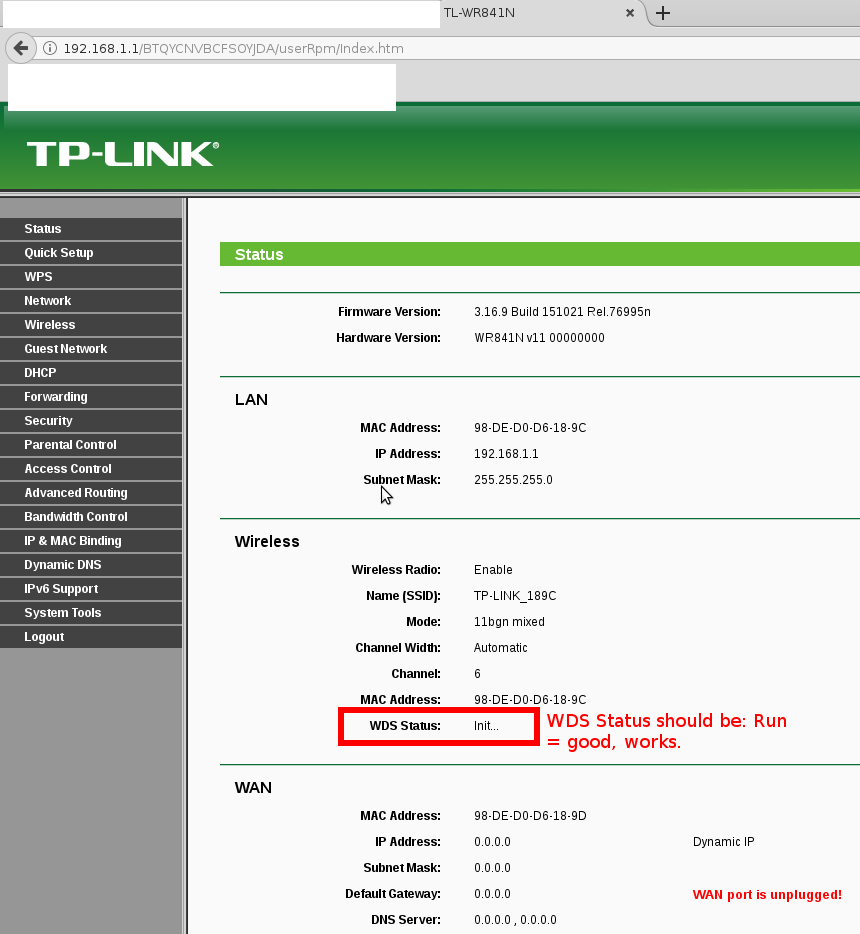 WLAN AdHoc Client Bridge with tp-link tl-wr841nd v11 – use wifi