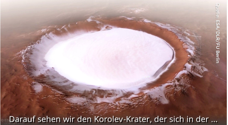 Water Ice found in crater on Mars