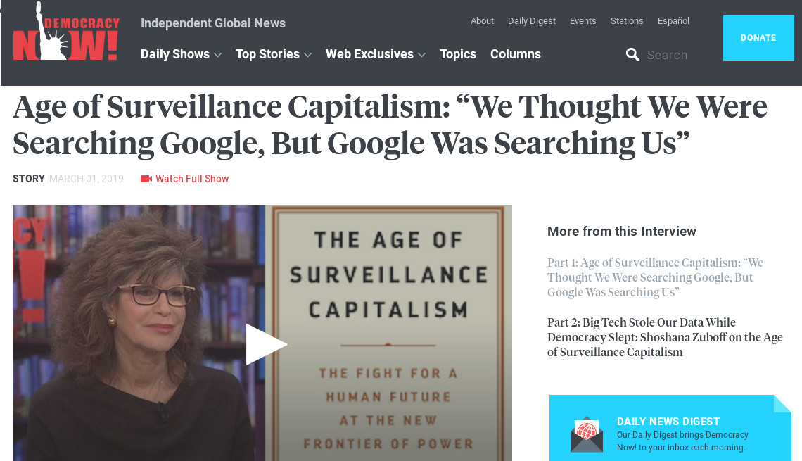 Age of Surveillance Capitalism – We thought we were searching Google – but Google was searching us