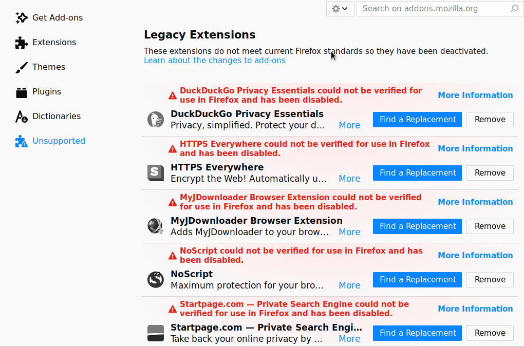 firefox not accepting addons extensions anymore could not be