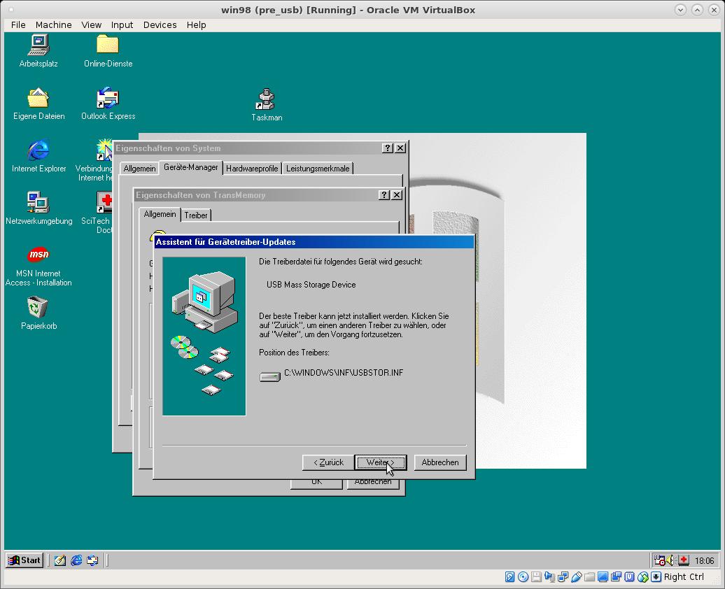 retro computing: win95 win98 as virtualbox vm running on linux host