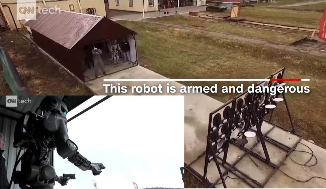 Robot Russia FEDOR shoots guns