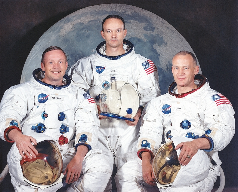 Apollo 11 lunar landing mission. Left to right, are Neil A. Armstrong, commander; Michael Collins, command module pilot; and Edwin E. Aldrin Jr., lunar module pilot.